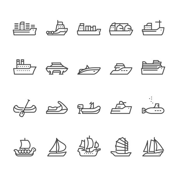 ilustrações de stock, clip art, desenhos animados e ícones de navios e embarcações vetor ícones - fishing boat