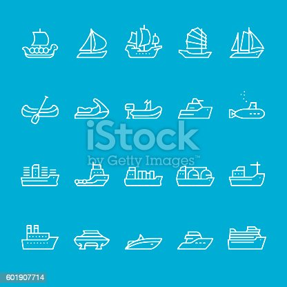 Ships and Nautical Vessel Types outline vector icons kit