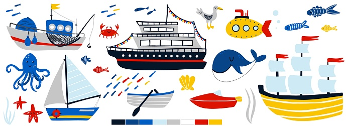 Ships and underwater animals set. Cartoon hand drawn sail childish collection. Yacht, sailboat and submarine, fish and octopus, kids design elements. Baby adventure and travel vector isolated set