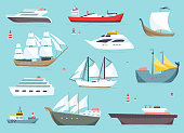 Ships at sea, shipping boats, ocean transport vector icons set.