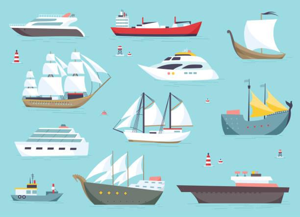 ships at sea, shipping boats, ocean transport vector icons set - statek stock illustrations