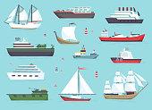 Ships at sea, shipping boats, ocean transport vector icons set.