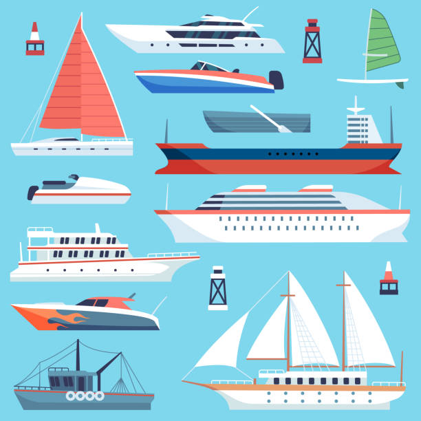 Ships boats flat. Maritime transport, ocean cruise liner ship, yacht with sail. Large vessels cargo barge flat vector set Ships boats flat. Maritime transport, ocean cruise liner ship, yacht with sail. Large sea vessels cargo barge flat vector set cruise vacation stock illustrations