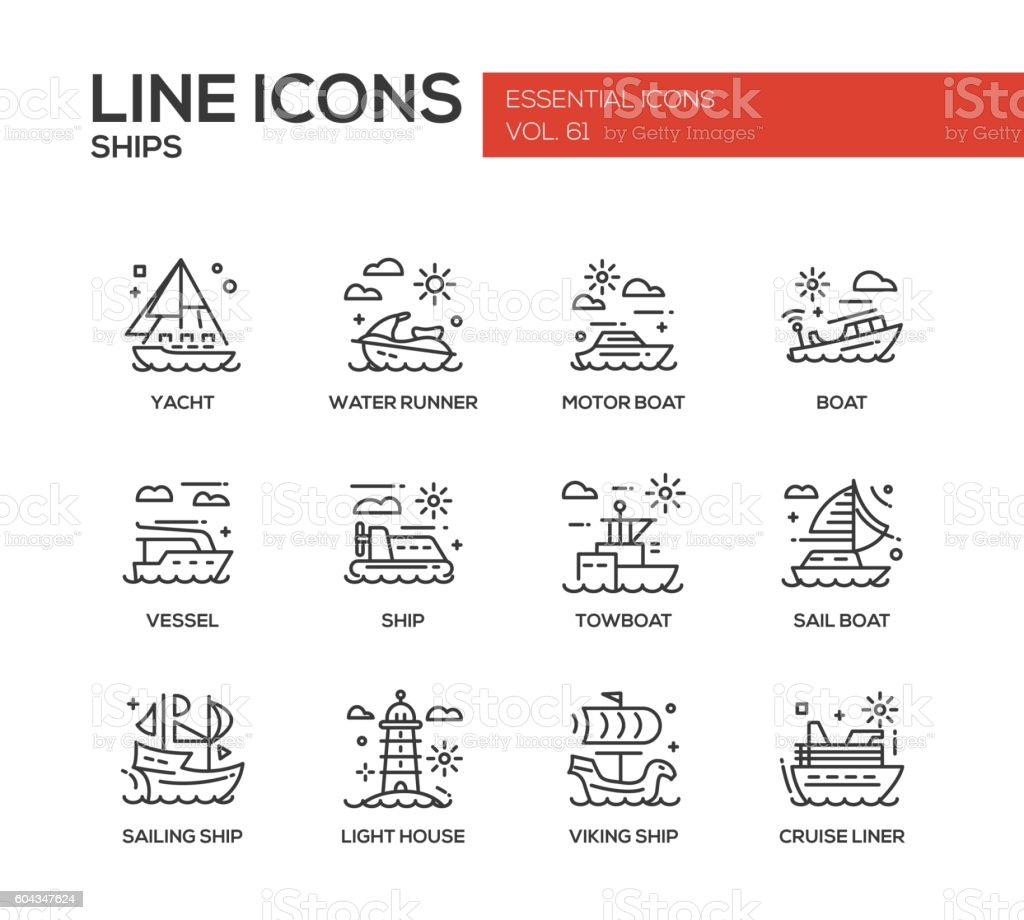 Ships - line design icons set vector art illustration