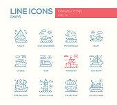 Ships - line design icons set