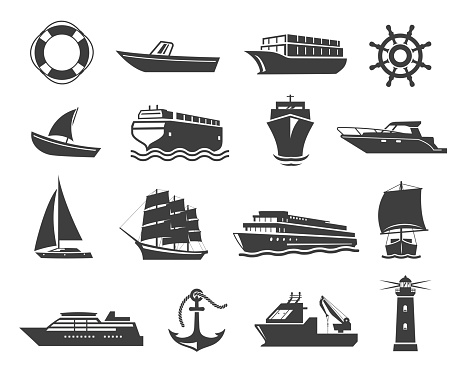 Ships or marine vessel icons, maritime transport, seafaring symbols