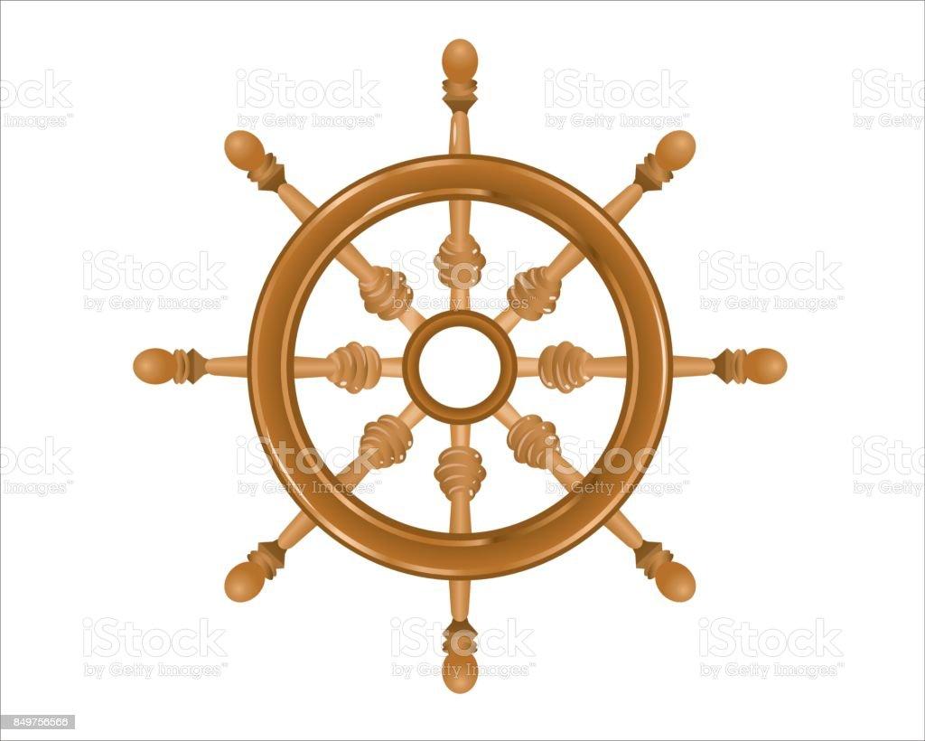 Ship's steering wood wheel on white background vector art illustration