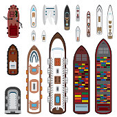 Ships top view set in color. Vector eps10.