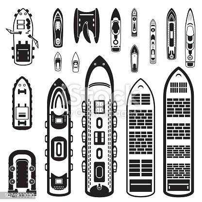 Ships top view set. Vector eps10.