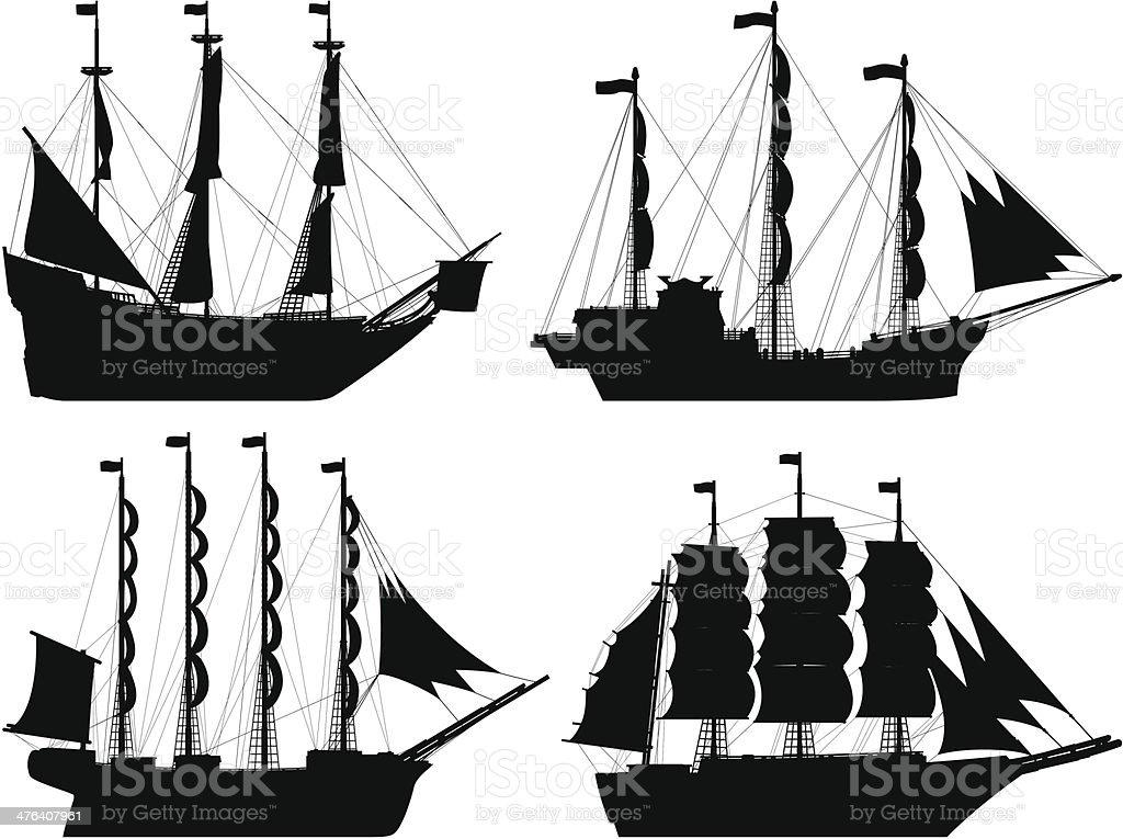 Ships vector art illustration