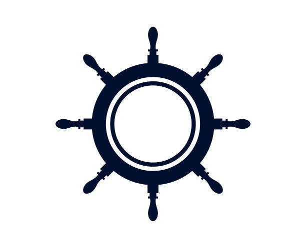 Ship's wheel Or Captains Wheel Isolated On White Background - Vector Ship's wheel vector illustration steering wheel stock illustrations