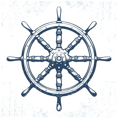 Ship's wheel vintage grunge vector illustration