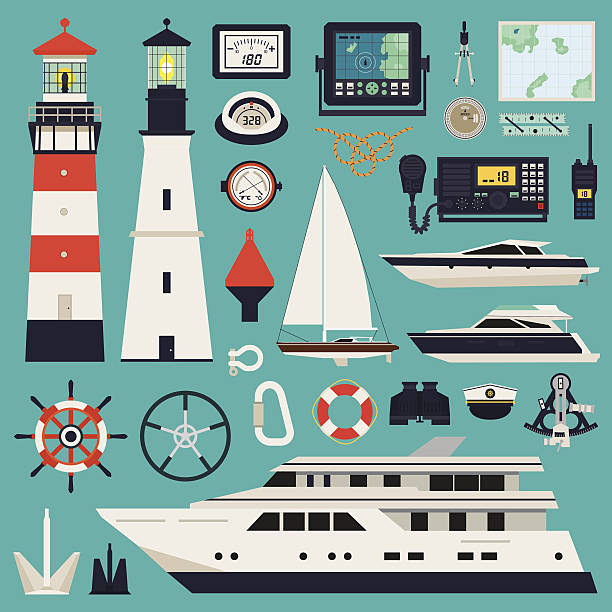 ilustrações de stock, clip art, desenhos animados e ícones de navios-iates e equipamento - sextante