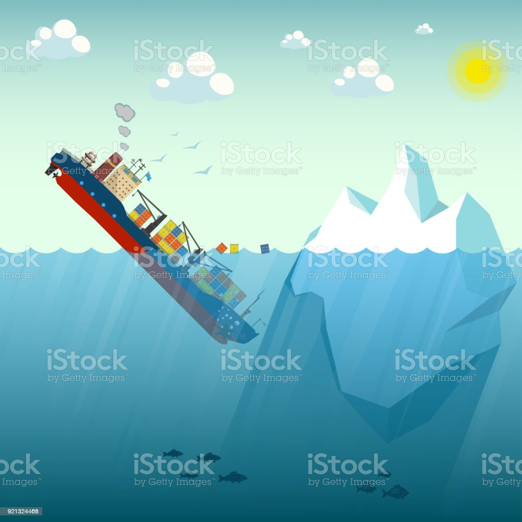 Shipwreck Iceberg container ship. The ship went under water half swimming around the containers. In the background blue sky, sun and gulls. Vector Illustration. vector art illustration