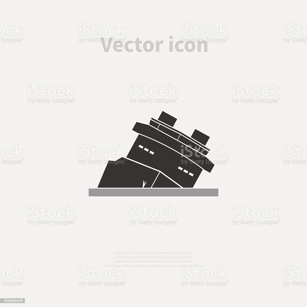 Shipwreck icon vector art illustration