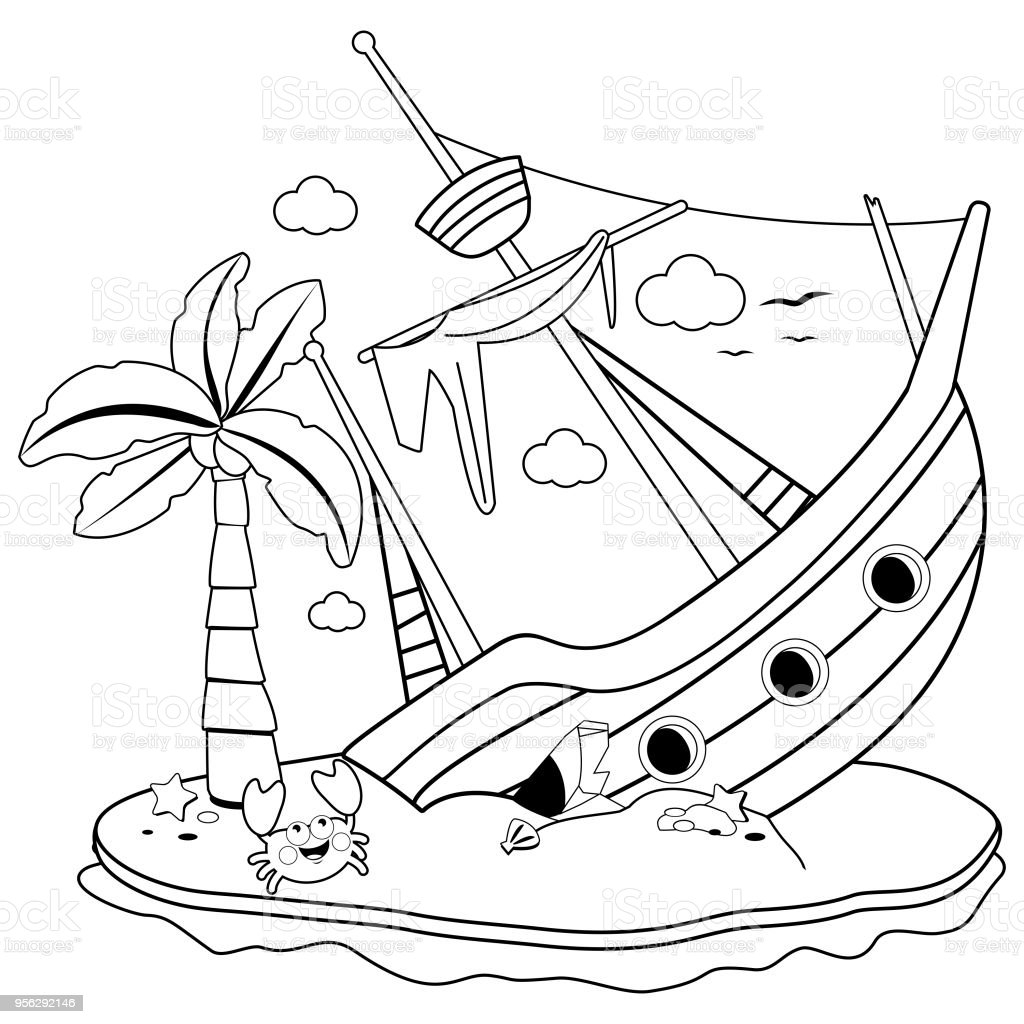 Shipwreck on an island. Black and white coloring book page A broken ship on a deserted island with a palm tree and a crab. Vector black and white illustration Abandoned stock vector