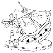 A broken ship on a deserted island with a palm tree and a crab. Vector black and white illustration