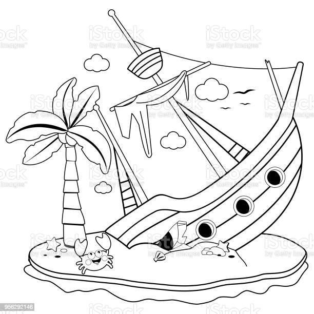 Shipwreck On An Island Black And White Coloring Book Page Stock Illustration - Download Image Now