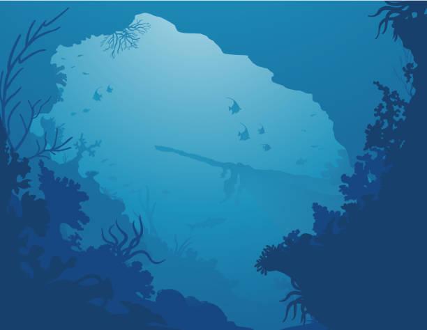 Shipwreck Wreck Silhouette d'une épave qui se dessine dans un décor de mer profonde. A shadow of a shipwreck view from a grotto. underwater stock illustrations