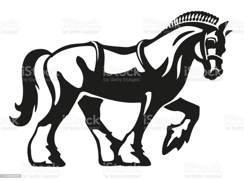 Shire Horse Draft Horse Heavy Horse Vector Logo Illustration Stock Illustration Download Image Now Istock
