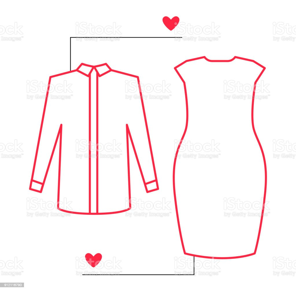 shirt and dress outline illustration with pointers and likes vector