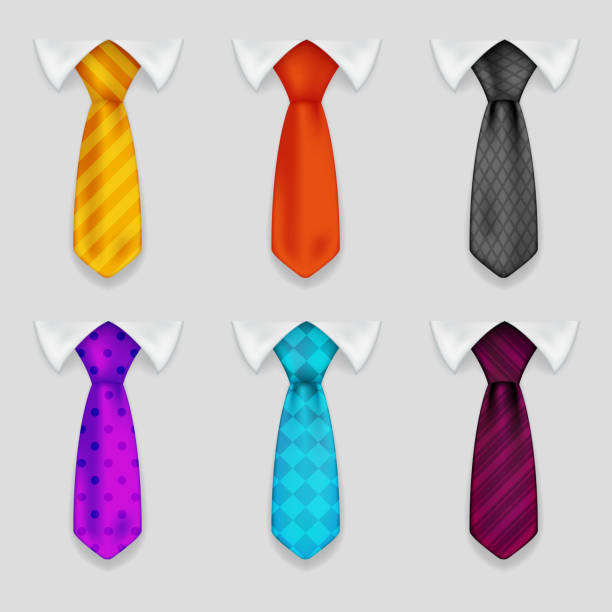 shirt and tie realistic icons set bacground 3d design vector - tie stock illustrations, clip art, cartoons, & icons