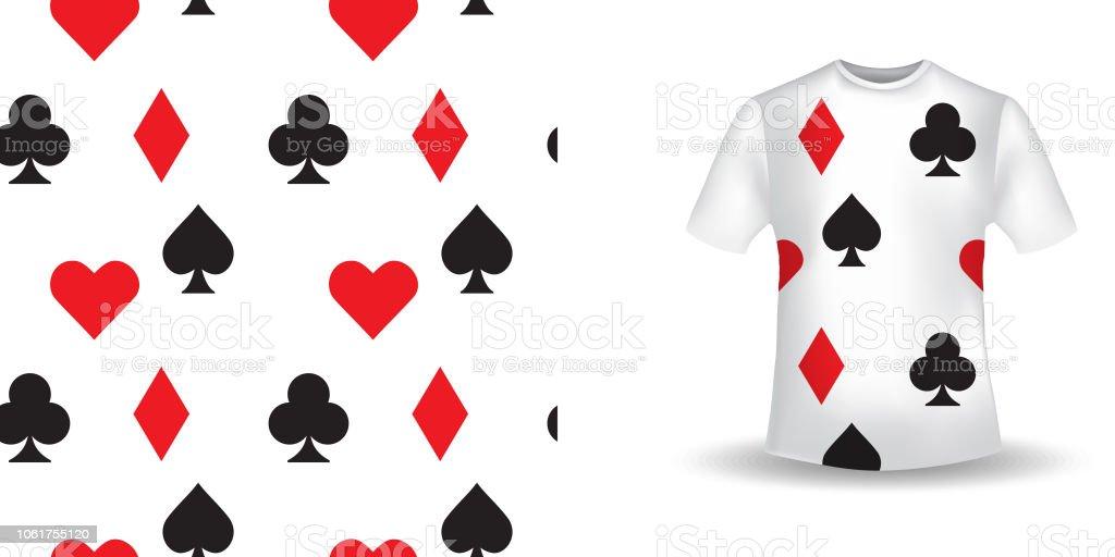 印刷の T シャツのデザイントランプ記号のシームレスなパターン背景