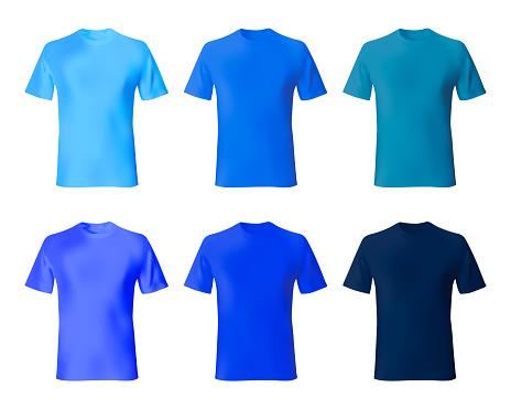 Shirt design template. Set men t shirt navy blue, indigo color. Realistic mockup shirts model male fashion.