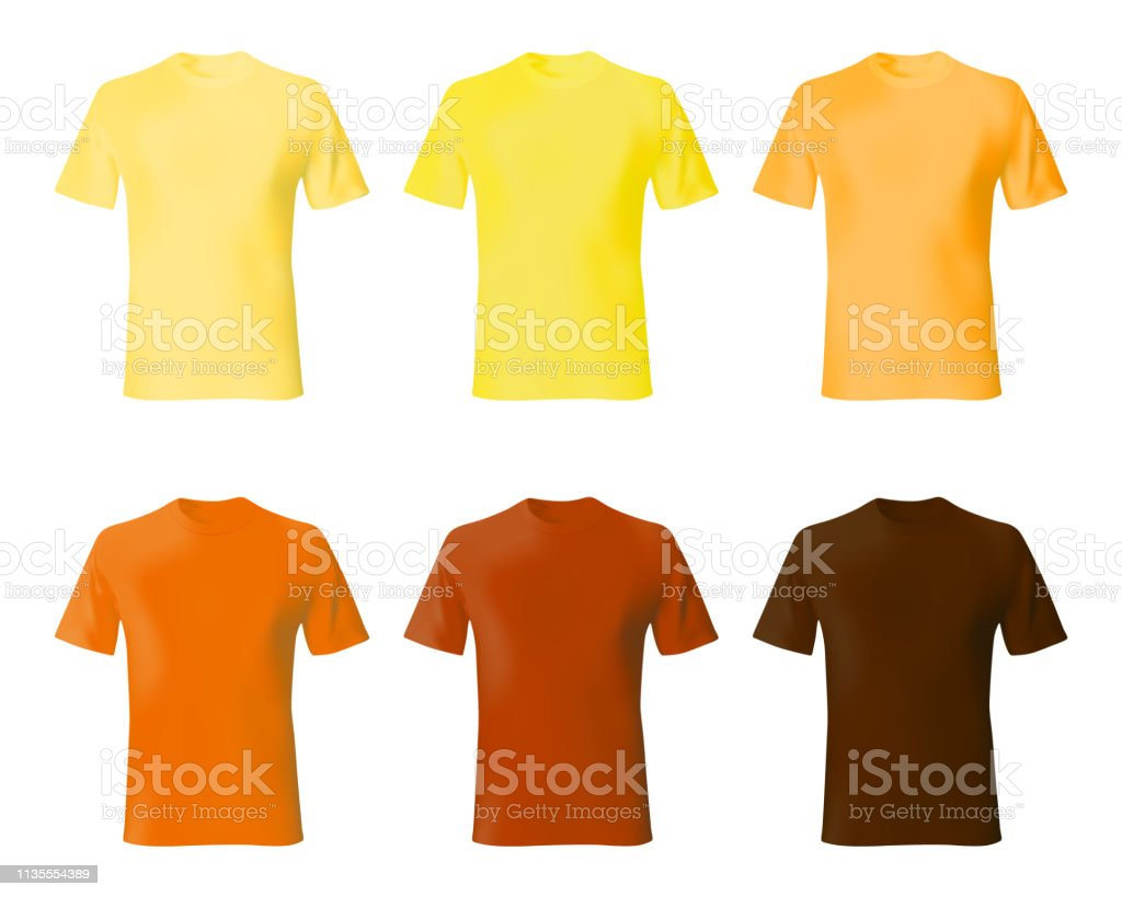 94826b02 Shirt design template. Set men t shirt yellow, orange, brown color.  Realistic mockup shirts model male fashion. - Illustration .