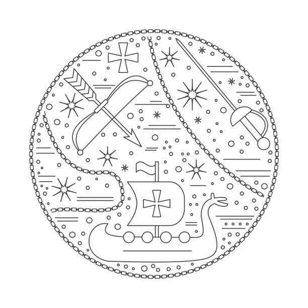 shirt-design-vorlage mit mittelalterlichen ikonen - kultfilme stock-grafiken, -clipart, -cartoons und -symbole