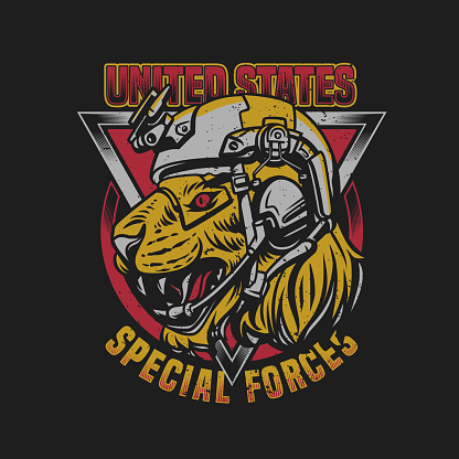 T shirt design united states special forces tiger head with army helmet vintage illustration