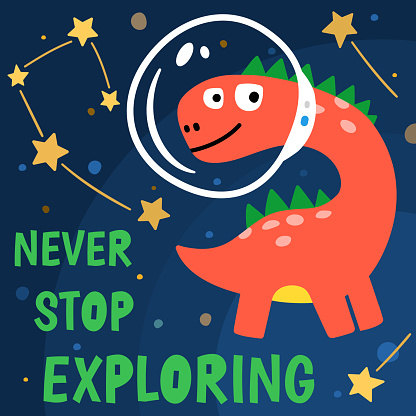 T shirt design with cute dinosaur cosmonaut