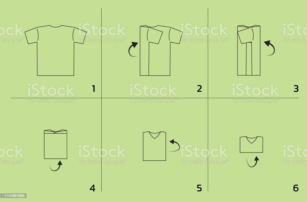 Shirt Folding Tutorial Sequence Cartoon Vector Illustration