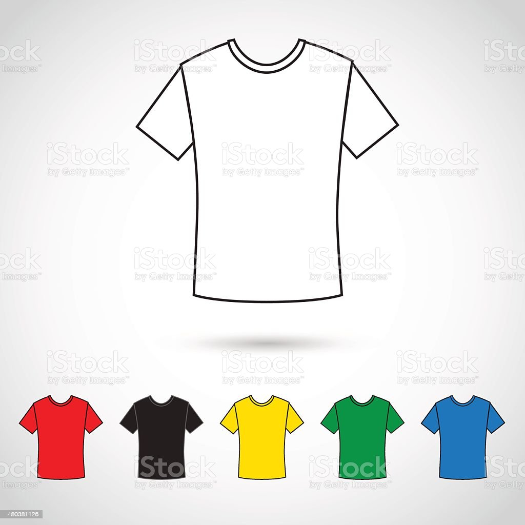 Shirt icon in various colors. vector art illustration