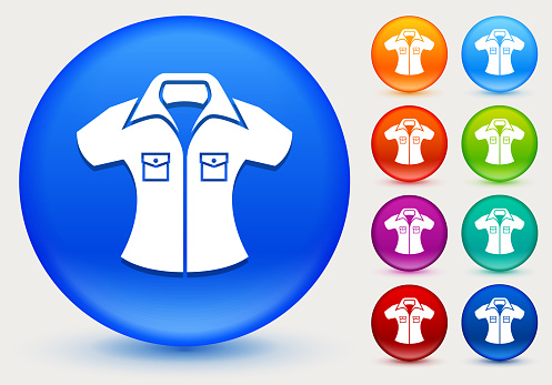 Shirt Icon on Shiny Color Circle Buttons