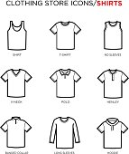 T shirt icon set