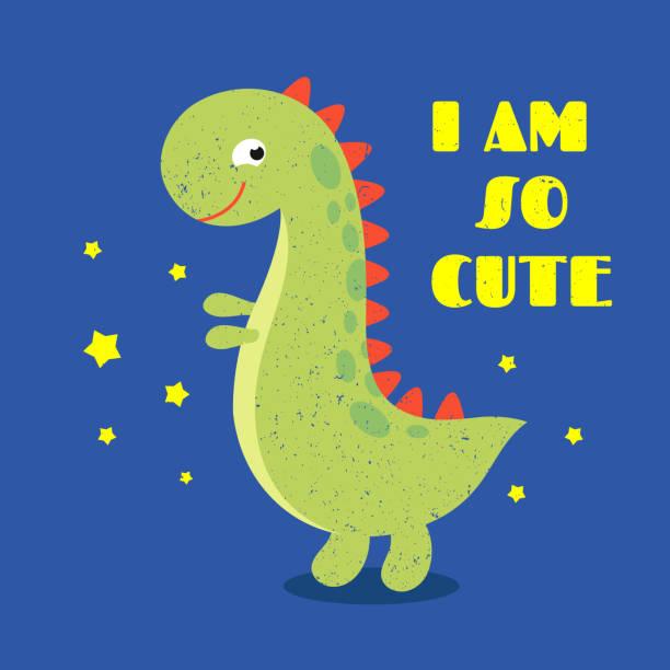 stockillustraties, clipart, cartoons en iconen met t shirt kids print label met schattige dinosaurus - baby dirty