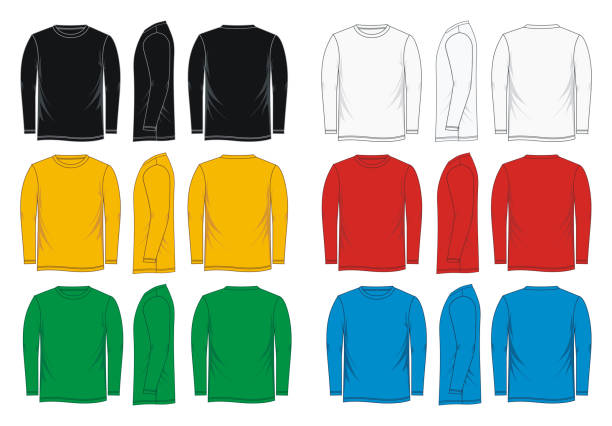 shirt long sleeve colorful shirt long sleeve front, side, back, colorful vector image t shirt stock illustrations