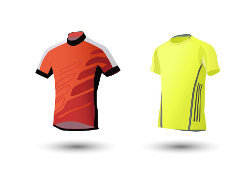 Shirt mockup set. Sports t-shirt template. yellow, gray and orange, front design.