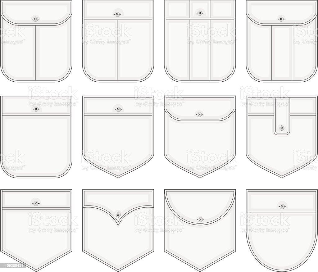 Shirt pockets. vector art illustration