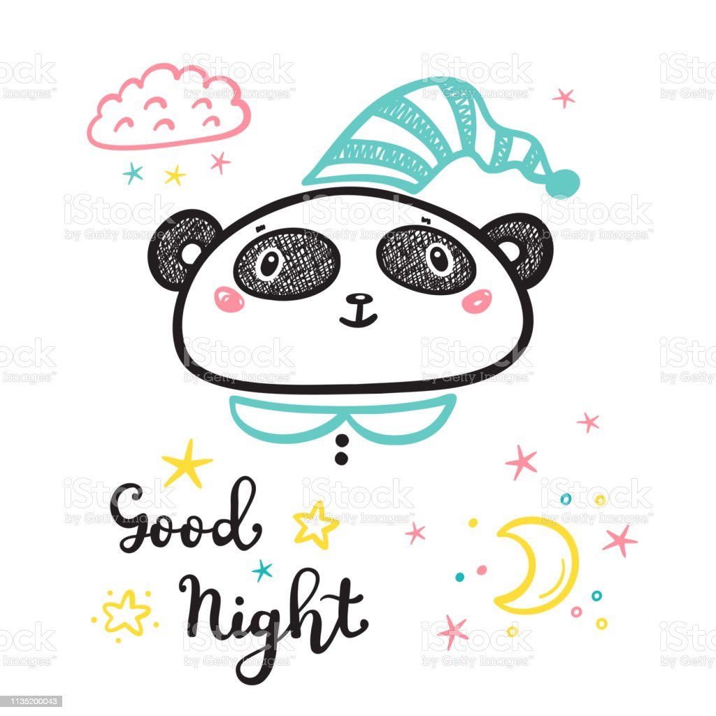 09f34bbb T Shirt Print Design For Kids With Cute Panda And Good Night Phrase ...