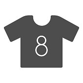 Shirt solid icon. Football suit, soccer dress kit with number eight symbol, glyph style pictogram on white background. Sport sign for mobile concept and web design. Vector graphics.