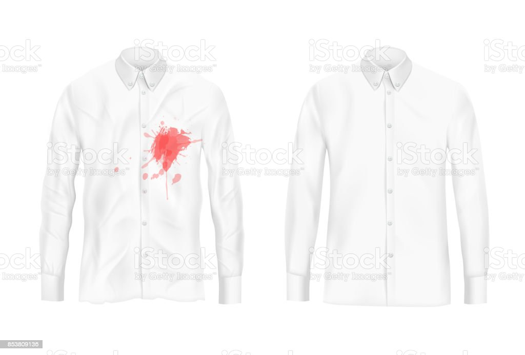 Shirt stain remover experiment vector concept vector art illustration