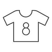 Shirt thin line icon. Football suit, soccer dress kit with number eight symbol, outline style pictogram on white background. Sport sign for mobile concept and web design. Vector graphics.