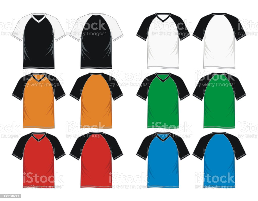 T Shirt Vneck Raglan Sleeve Templates Stock Vector Art & More Images ...
