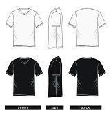 T shirt V-neck raglan sleeve templates black white vector image