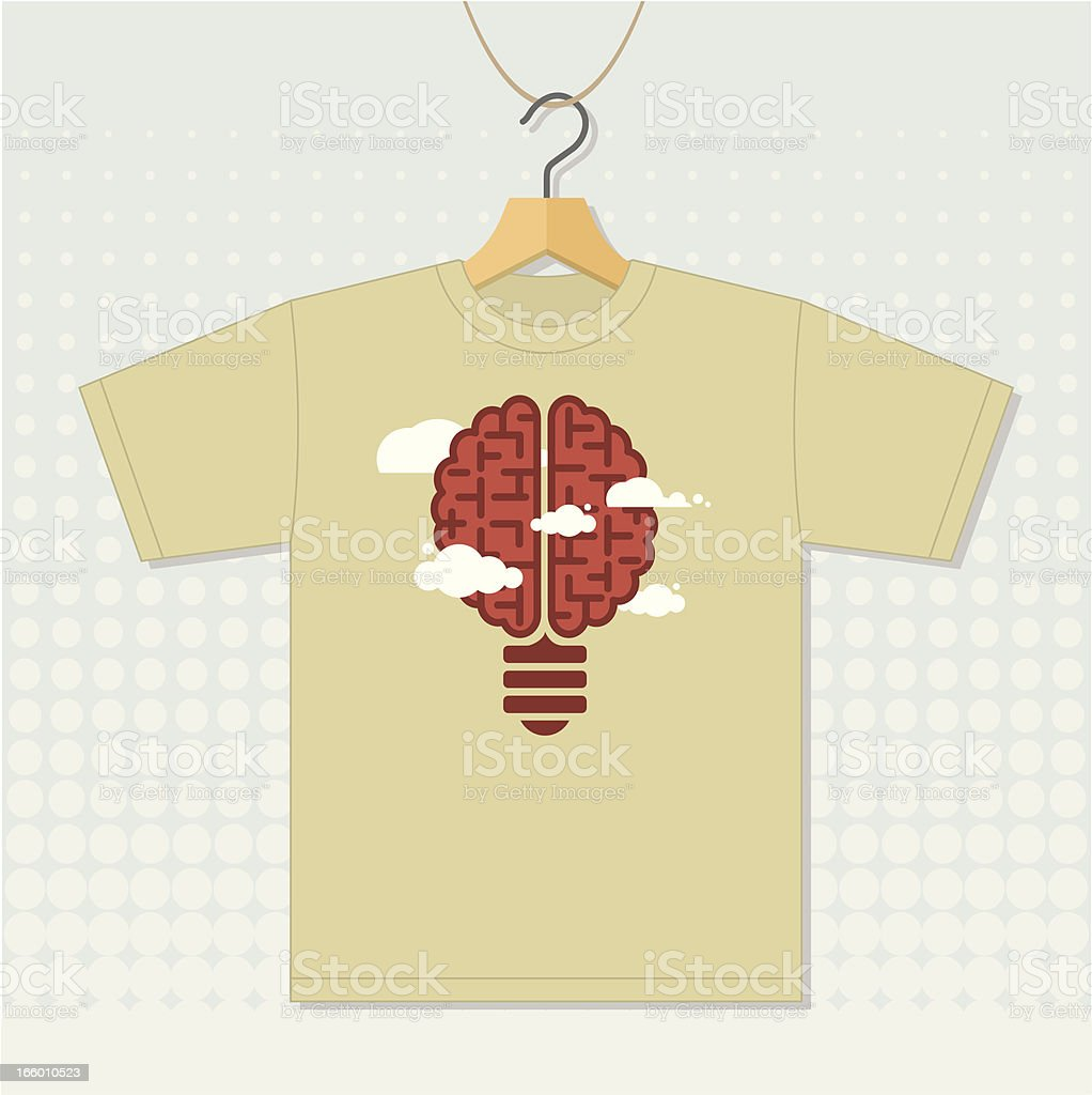 T shirt with idea brain icon royalty-free stock vector art