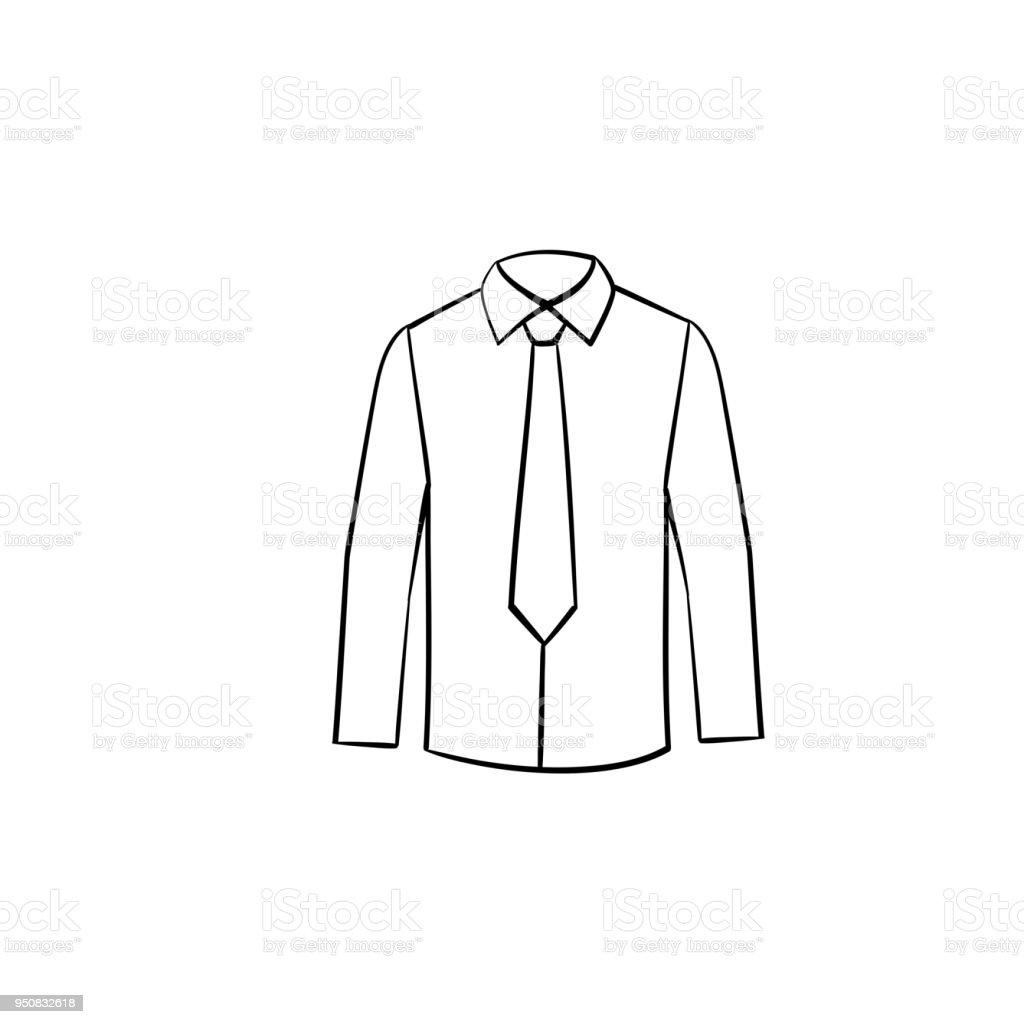 Hemd Mit Krawatte Handsymbol Gezeichnete Skizze Stock Vektor Art und ...