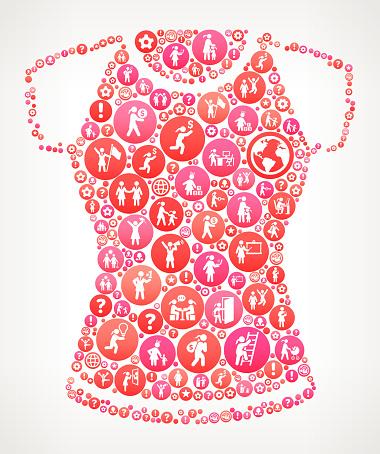 Shirt Women Girl Power Icons Vector Background