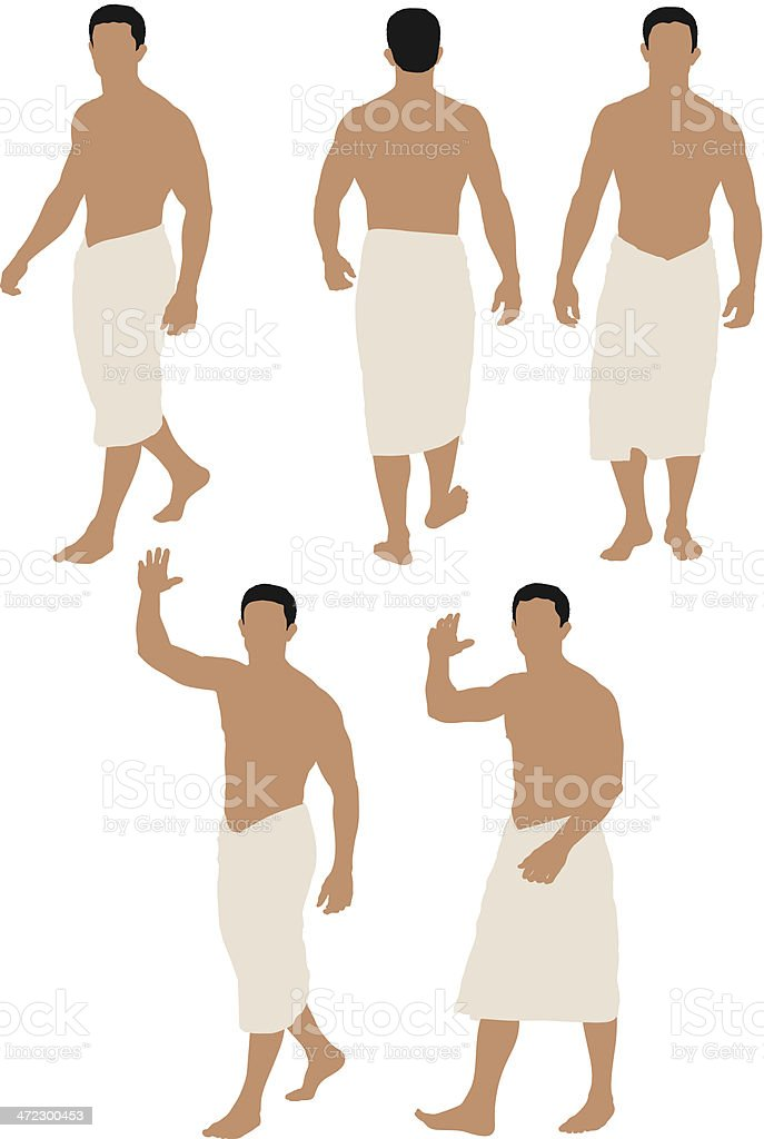 Shirtless man wrapped in towel royalty-free stock vector art